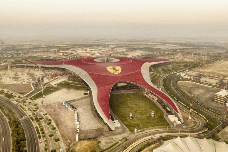 Ferrari World amusement park in UAE as seen from the air.