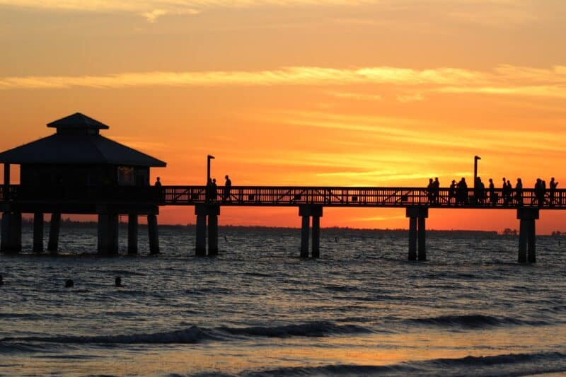 Silhouette of Naples Pier at sunset