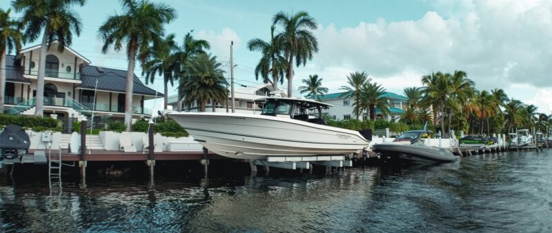 boats along a canal in Key Largo Florida