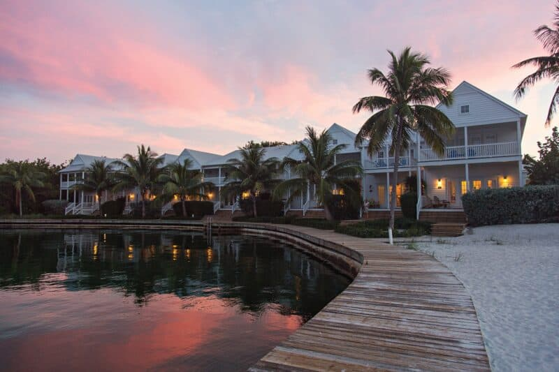 Pink clouds behind homes on Marathon Key Florida