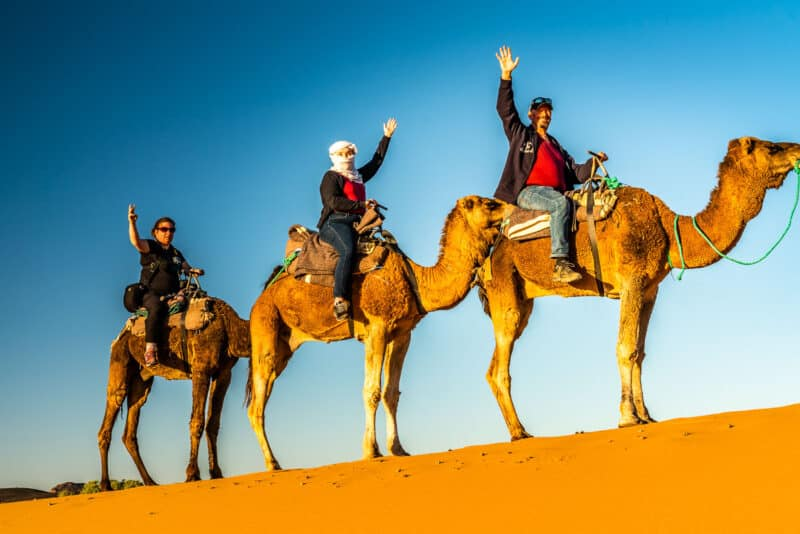 Riding camels in the Sahara desert near the Algerian border.