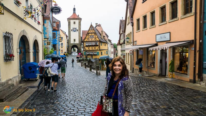 Linda in Rothenburg Germany during a Viking river cruise