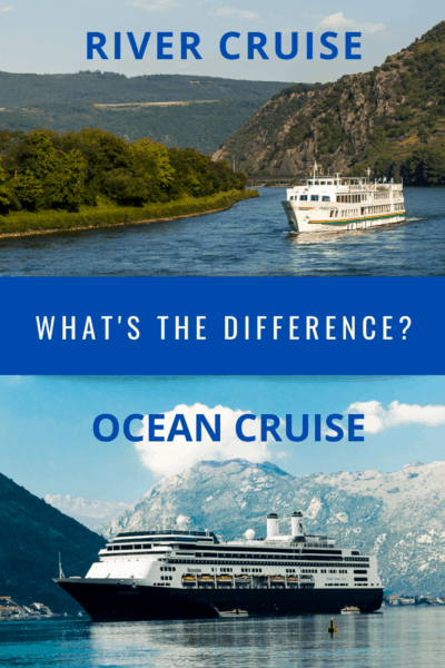 Collage with river cruise ship image on the top and ocean cruise ship on the bottom. Text overlay says river cruise ocean cruise which is better?