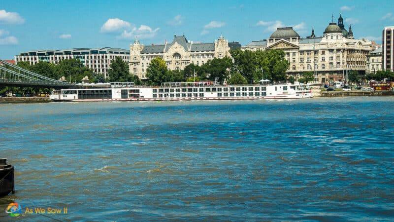 Viking river cruise ship docked in Budapest Amsterdam, Contrasts the size of river vs. ocean cruise ships.
