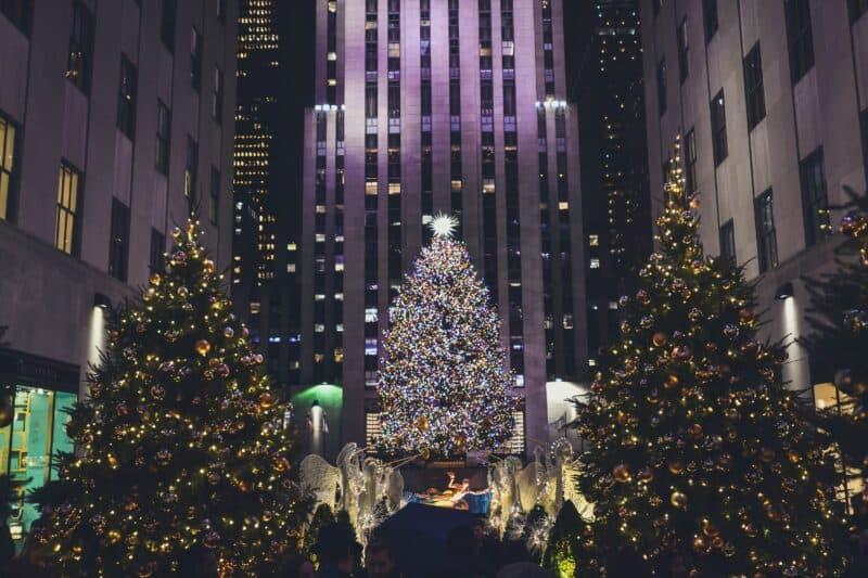 Christmas Tree at Rockefeller Center in New York City in winter