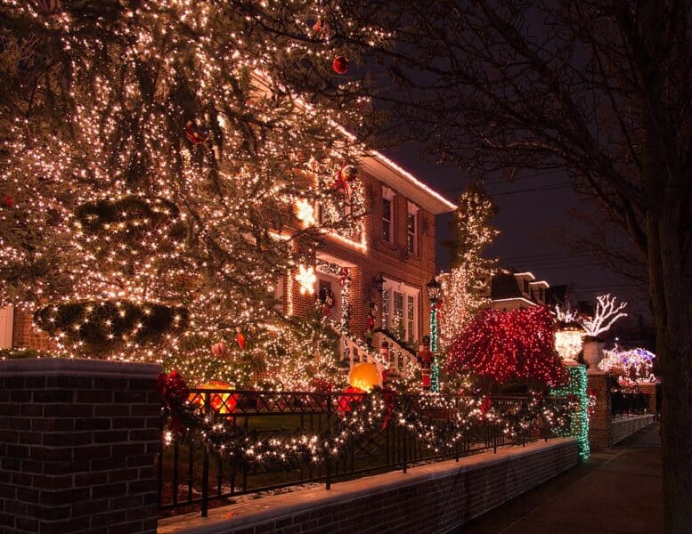 Christmas lights on a street in Dyker Heights, New York City in Winter
