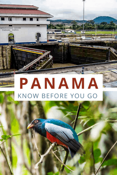 Miraflores locks and bird in Panama. Text overlay says Panama know before you go