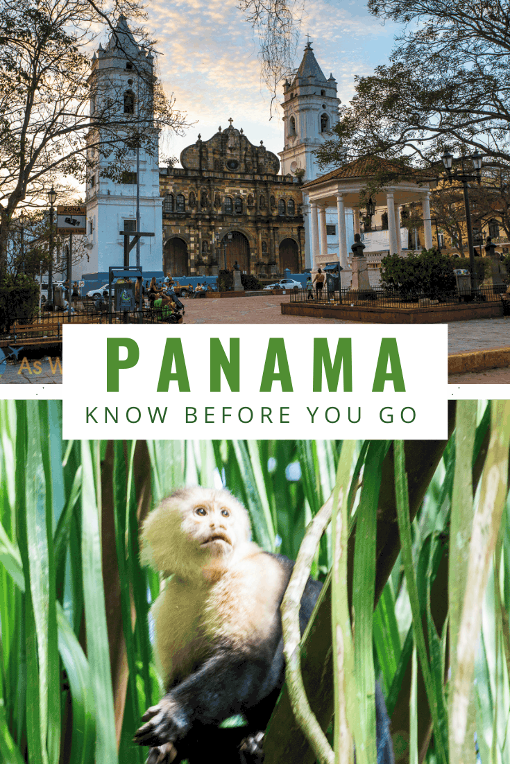 Church in Casco Viejo and spider monkey. Text overlay says Panama know before you go