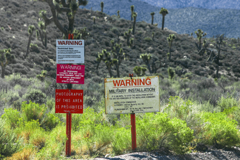 """Security signs saying """"keep out"""" at Area 51"""