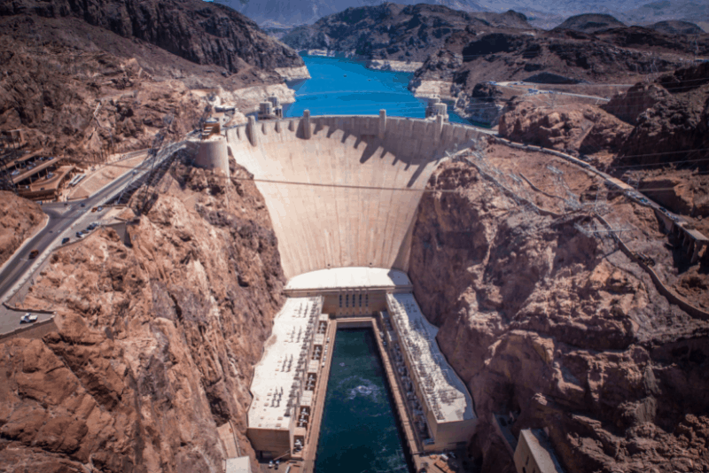 Aerial view of Hoover Dam, a popular Las Vegas day trip