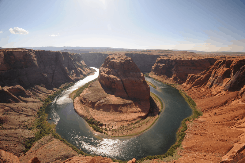 Aerial view of Horseshoe Bend, a popular day trip from Las Vegas