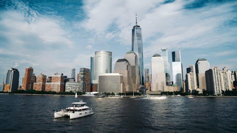 catamaran approaching the NYC waterfront