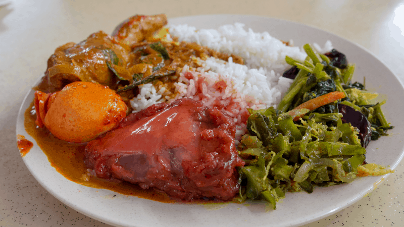 nasi kandar rice and accompaniments