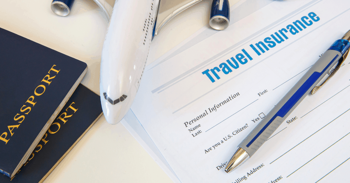 passport, model of an airplane, travel insurance application and pen