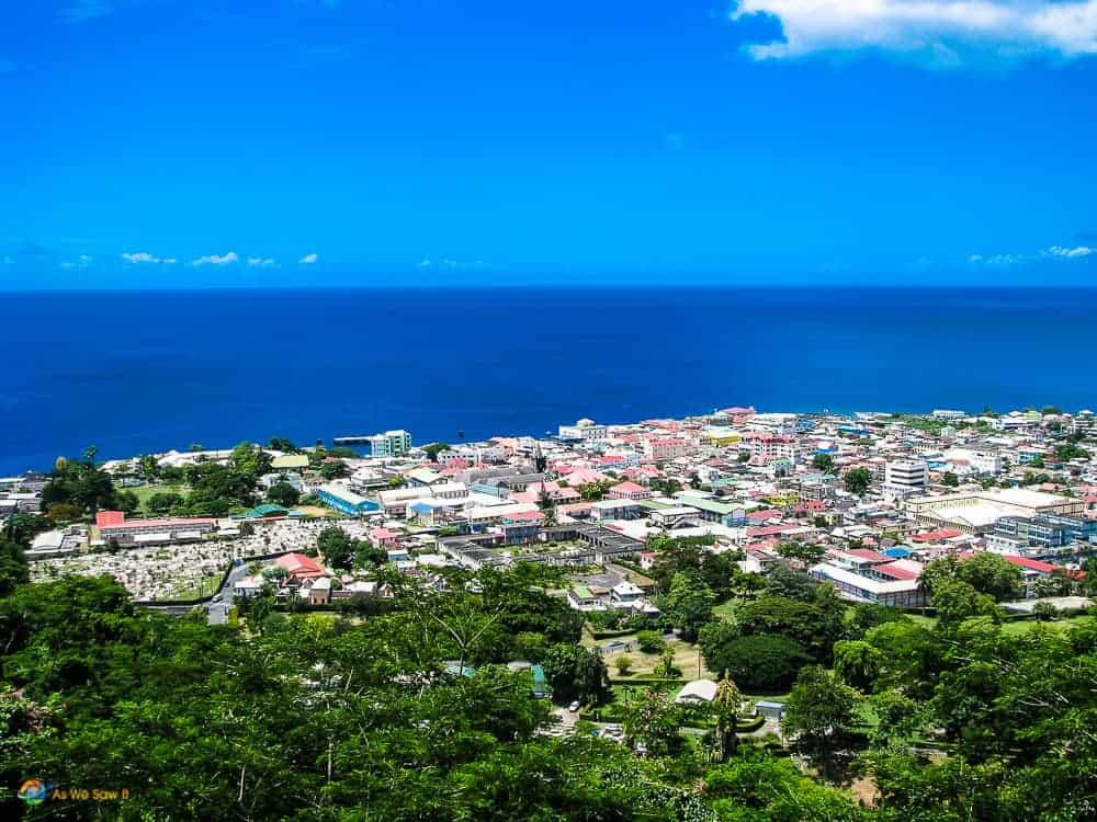 Roseau dominica as seen from atop a nearby hill