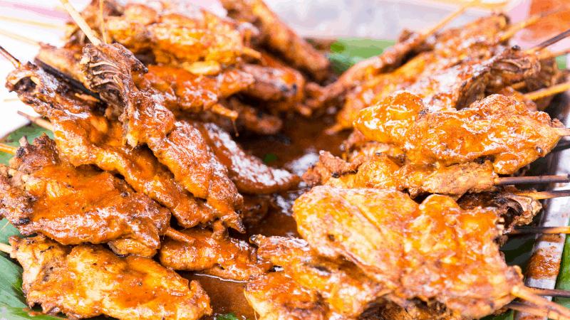 closeup of delicious ayam percik street food