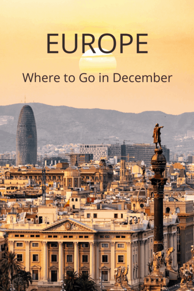 Sunset in Rome. Text overlay says Europe Where to Go in December