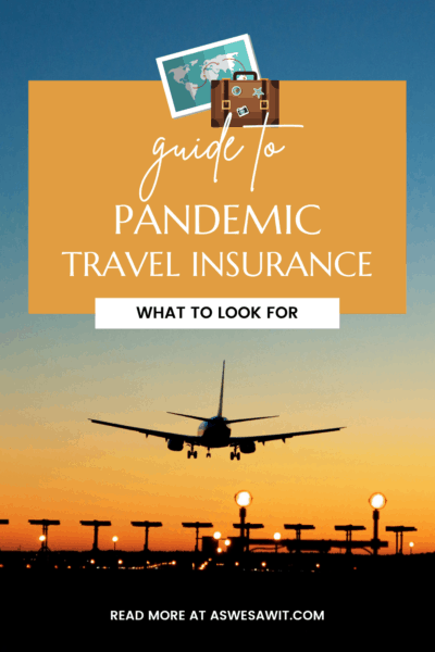 """Sunset sky colors behind a plane landing at an airport. Text overlay says """"Guide to pandemic travel insurance what to look for"""""""