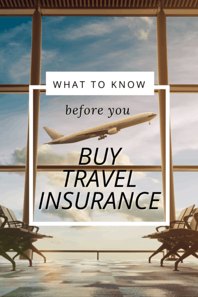 View through an airport window of a plane taking off. Text overlay says what to know before you buy travel insurance