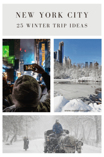 collage of a person taking a photo, snowy central park, and horse drawn carriage in the snow. text overlay says new york city 25 winter trip iceas