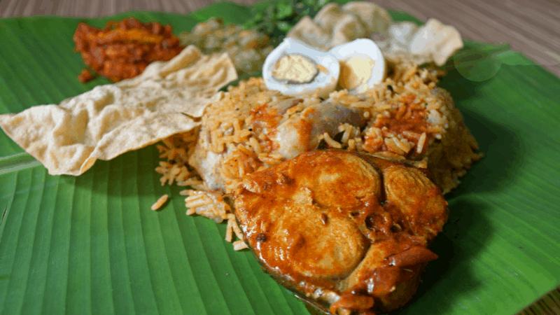 assorted foods on a banana leaf penang