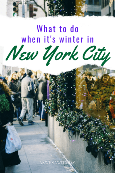 Sidewalk on 5th Avenue. Text overlay says what to do when it's winter in new york city