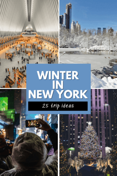 collage of a christmas market in new york, Central Park in winter, person taking a photo in times square and rockefeller center xmas tree. Text overlay says winter in new york 25 trip ideas