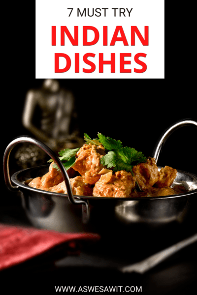 """dish of Rogan Josh. Text overlay says """"7 must try Indian dishes."""""""