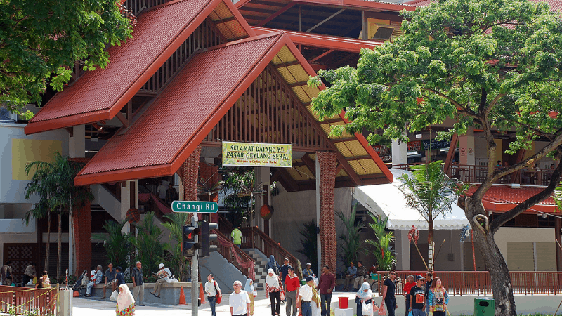 Front of Geylang Serai Market, with people in front