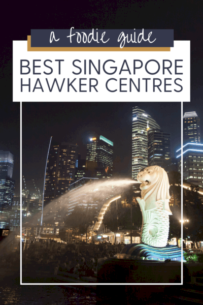 """Merlion statue spitting water.Text overlay says """"a foodie guide best Singapore hawker centres."""""""