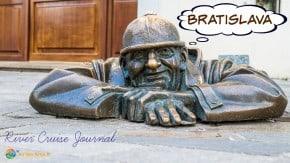 Famous Bratislava statue of man emerging from manhole
