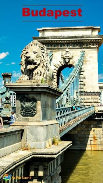 Lion statue at end of Budapest Chain Bridge