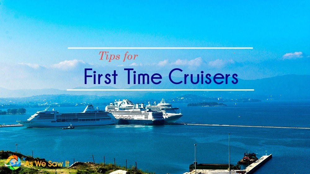 "Cruise ships in port. Text overlay says ""Tips for First Time Cruisers."""
