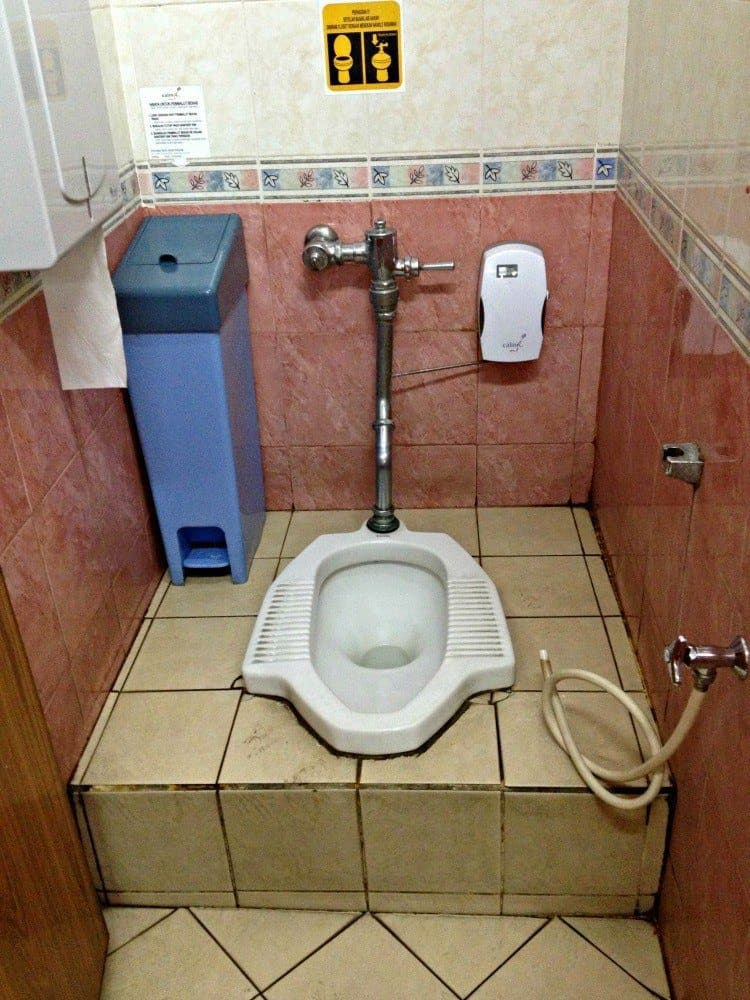 Porcelain squat toilet in a public bathroom