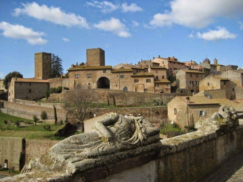 Town of Tuscania Lazio - traces of Etruscan and Roman walls and foundations are easily visible around the hill.