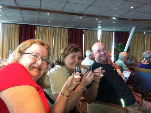 Tasting jenever with one of our new friends - another one took the photo