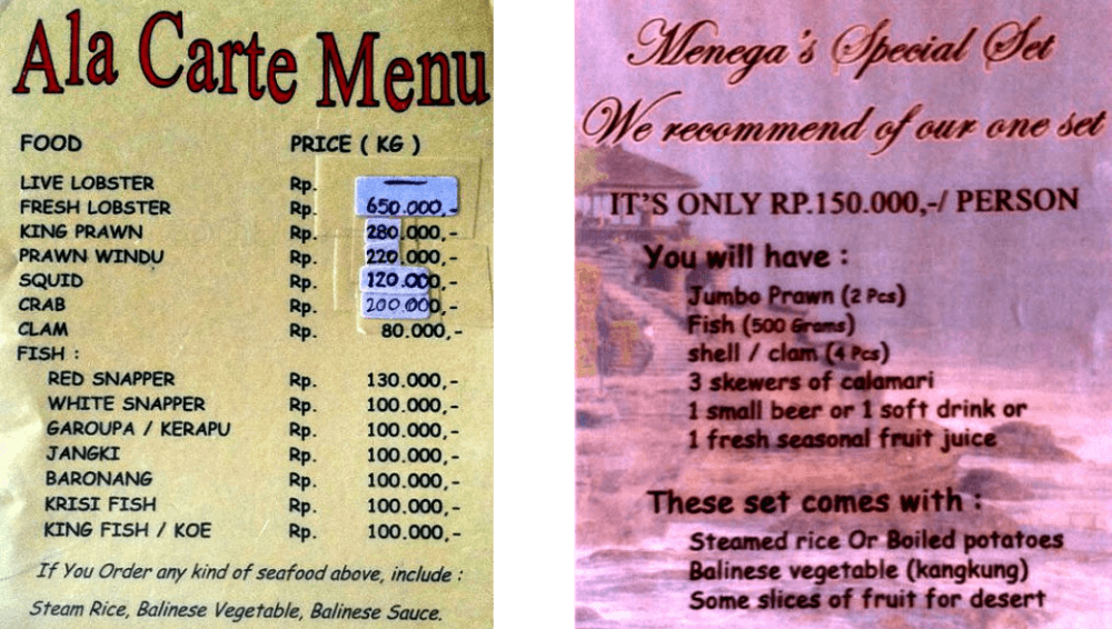 Cost to eat at Jimbaran beach, Bali, Indonesia