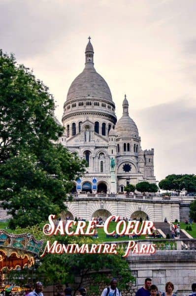 Sacre Coeur with tree in foreground. Text overlay: Sacre Coeur, Montmatre, Paris