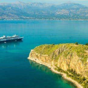 Our Holland America cruise ship in Nafplion, Greece