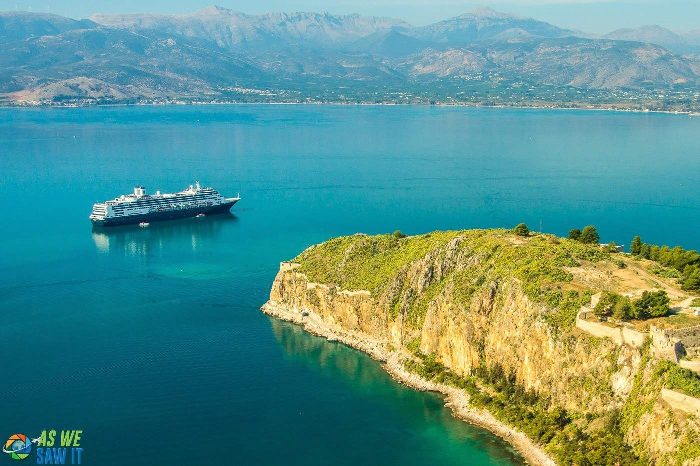 Our Holland America cruise ship in Nafplion, Greece