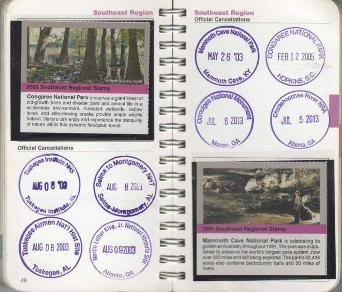 us national park passport stamp sticker book with cancellation stamps