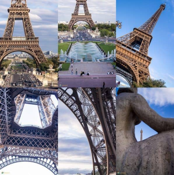 A collage of 6 great travel photos taken of the Eiffel Tower in Paris