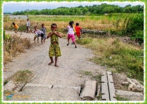 Children playing on West Timur, Indonesia