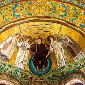 gold-leafed mosaic of Jesus surrounded by angels