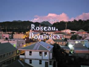 Sunset skyline of Roseau, Dominica