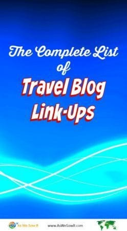 Complete travel blog link-up list as of 1/2016 - Find the complete list at http://bit.ly/1VBOjuS.
