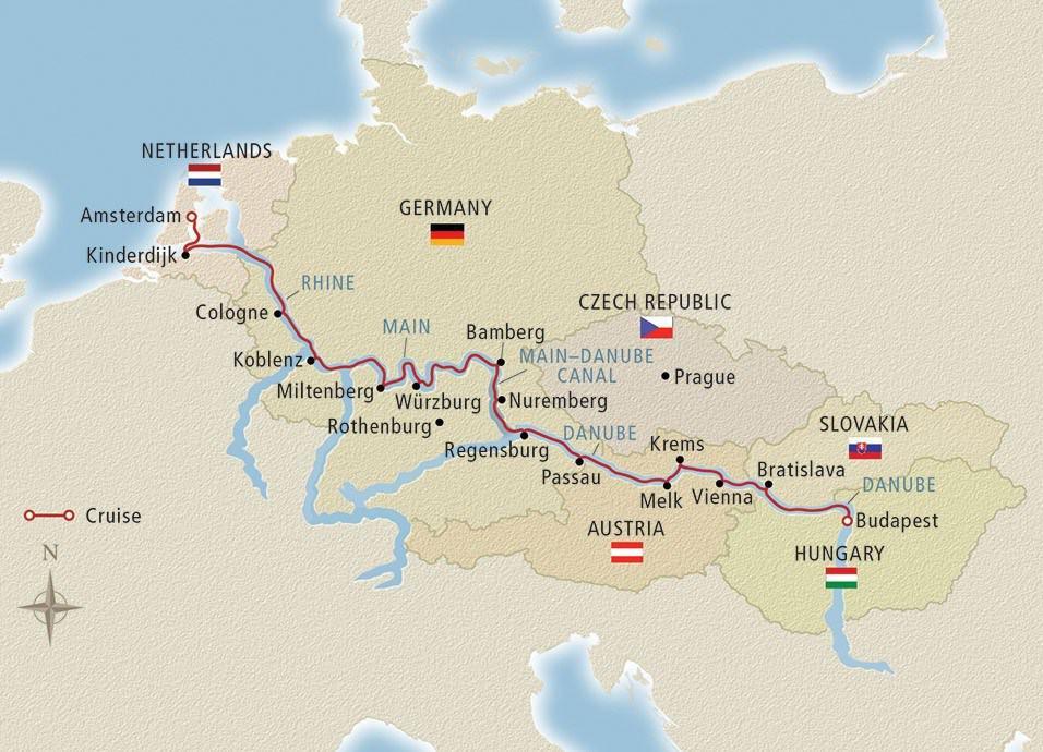 Viking Grand European Tour itinerary Map
