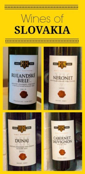 Collage of four Slovak wines. Text overlay says Wines of Slovakia